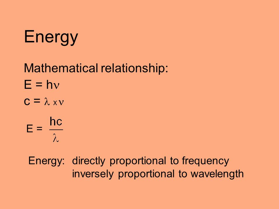 Energy Mathematical relationship: E = h c =  x  E =