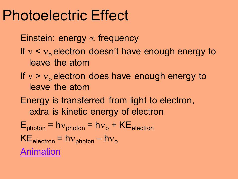 Photoelectric Effect Einstein: energy  frequency