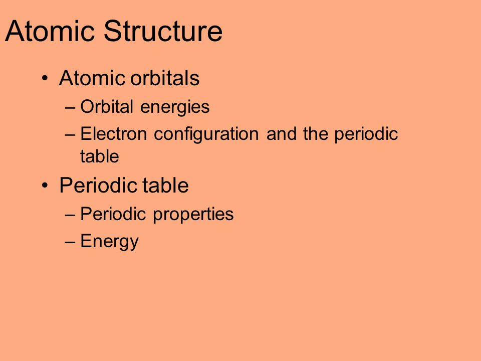Atomic Structure Atomic orbitals Periodic table Orbital energies