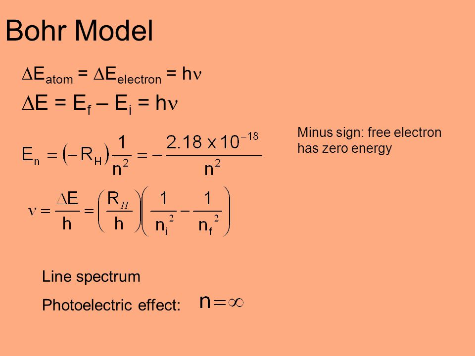 Bohr Model E = Ef – Ei = h Eatom = Eelectron = h Line spectrum