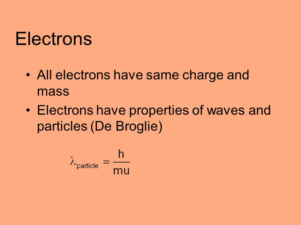 Electrons All electrons have same charge and mass