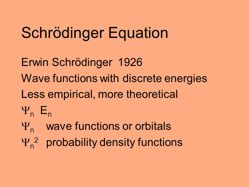 Schrödinger Equation Erwin Schrödinger 1926