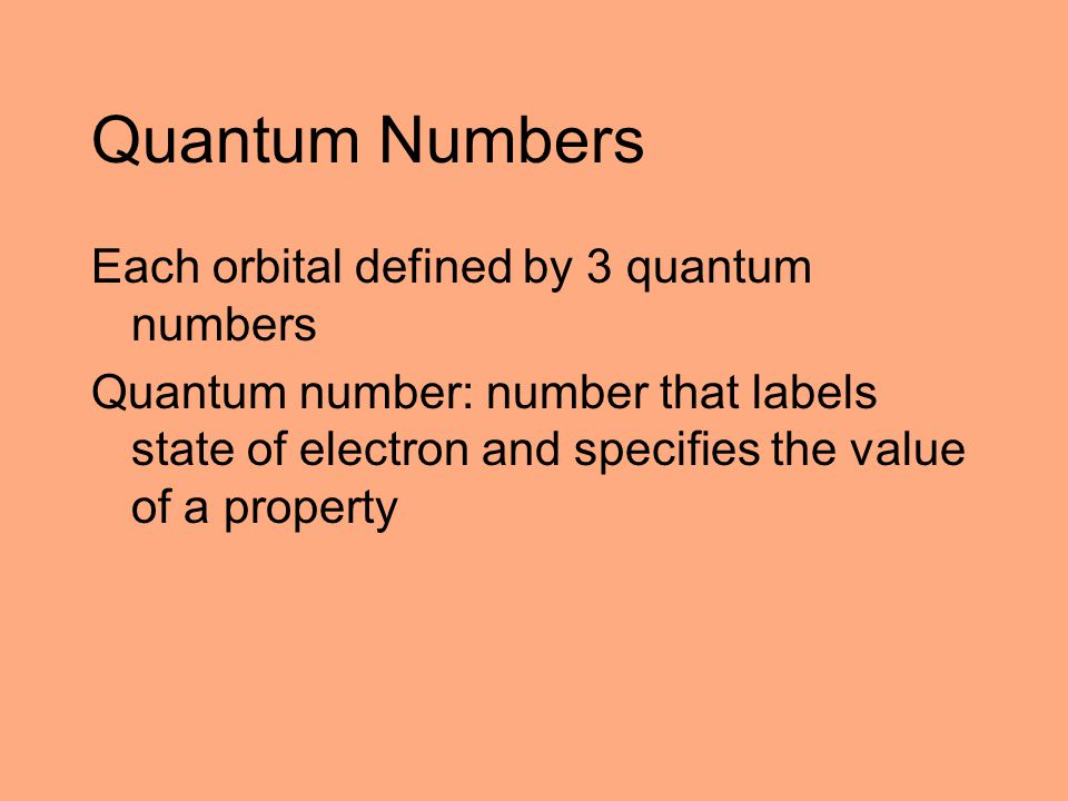 Quantum Numbers Each orbital defined by 3 quantum numbers