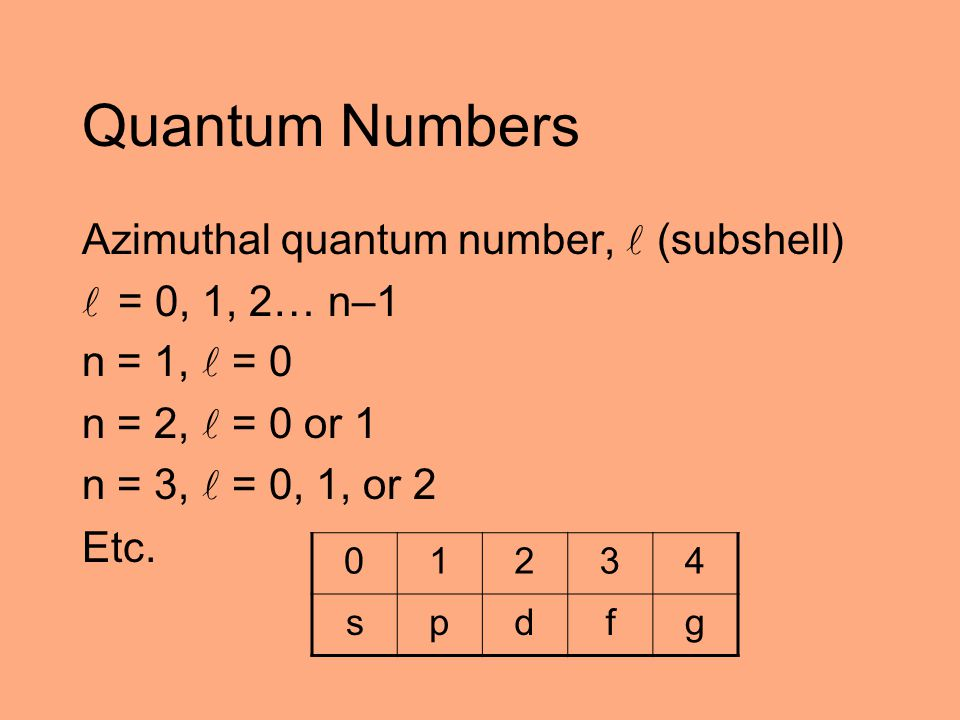 Quantum Numbers Azimuthal quantum number,  (subshell) = 0, 1, 2… n–1