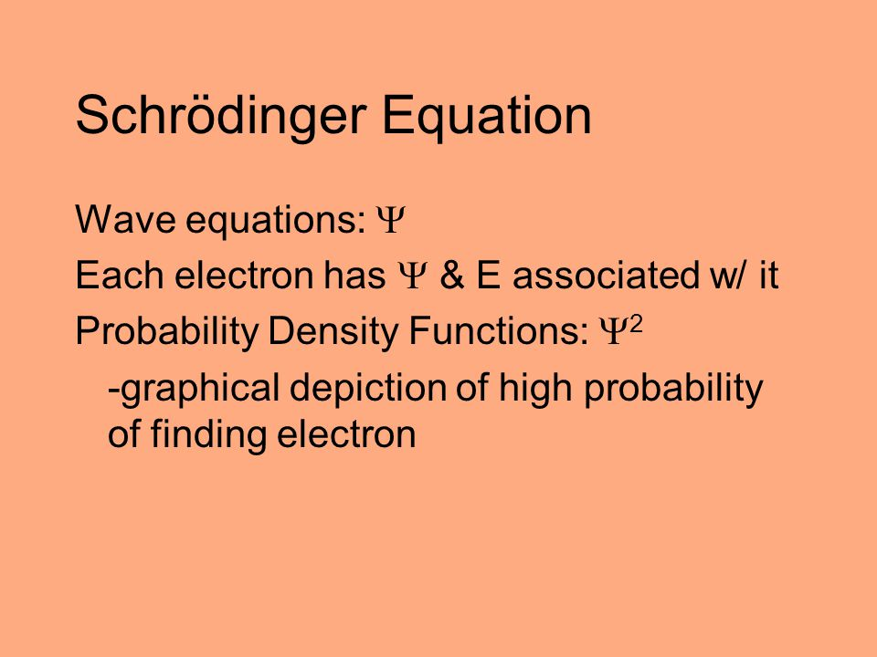 Schrödinger Equation Wave equations: 