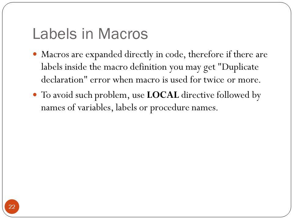 Labels in Macros