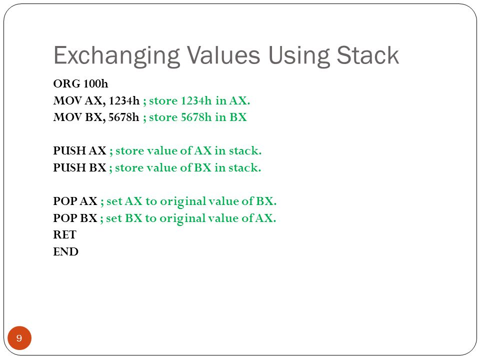 Exchanging Values Using Stack