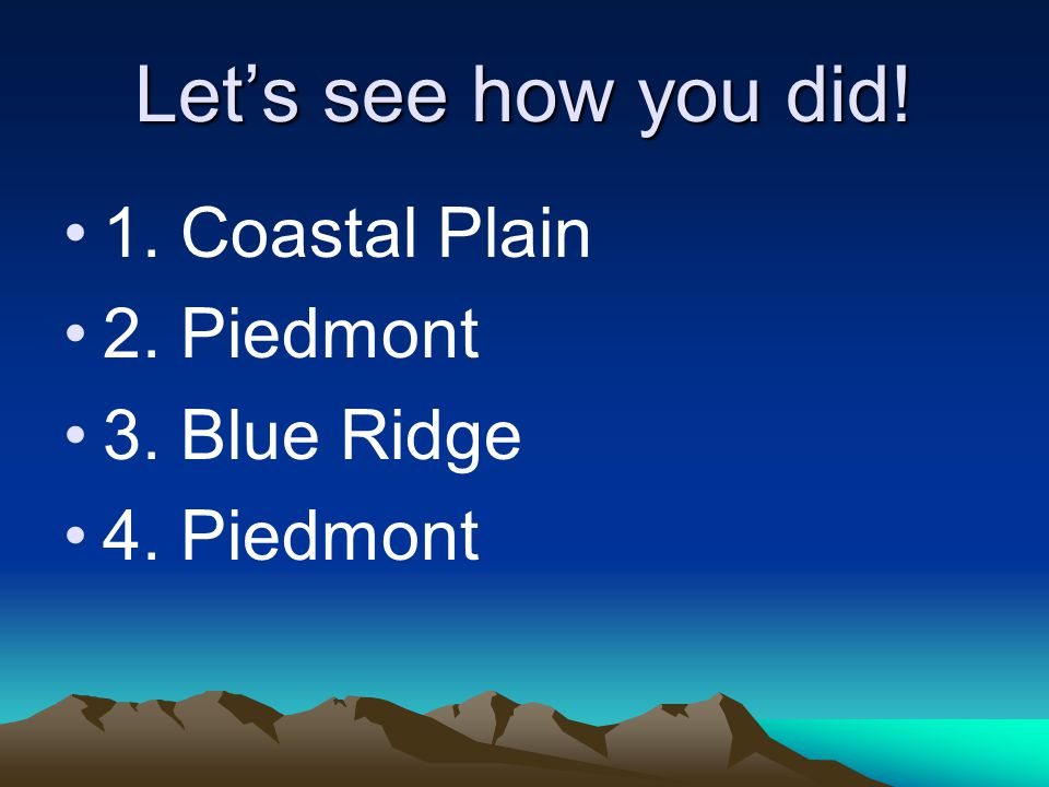 Let's see how you did! 1. Coastal Plain 2. Piedmont 3. Blue Ridge