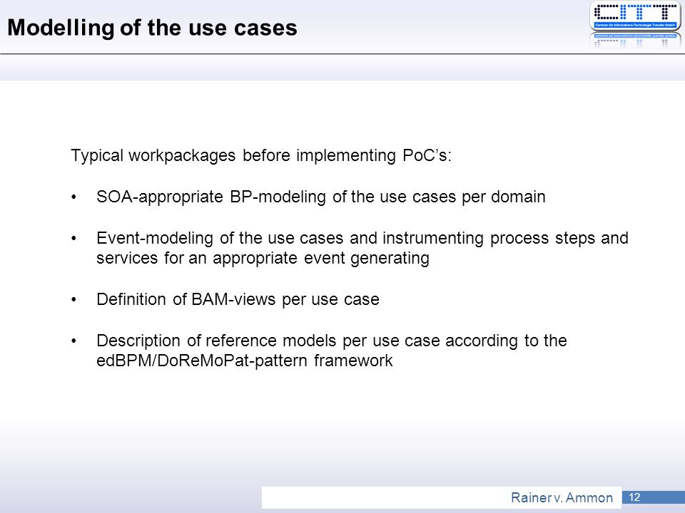 Modelling of the use cases