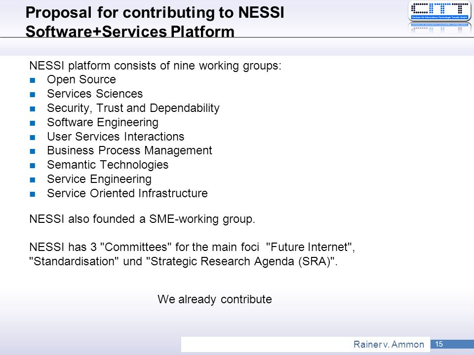 Proposal for contributing to NESSI Software+Services Platform