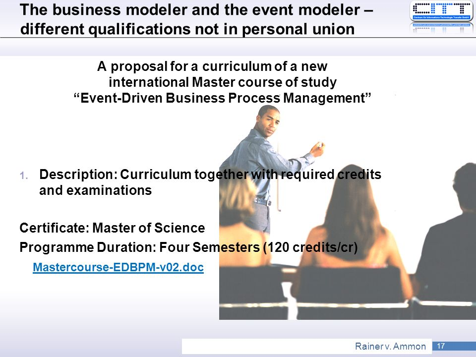 The business modeler and the event modeler – different qualifications not in personal union