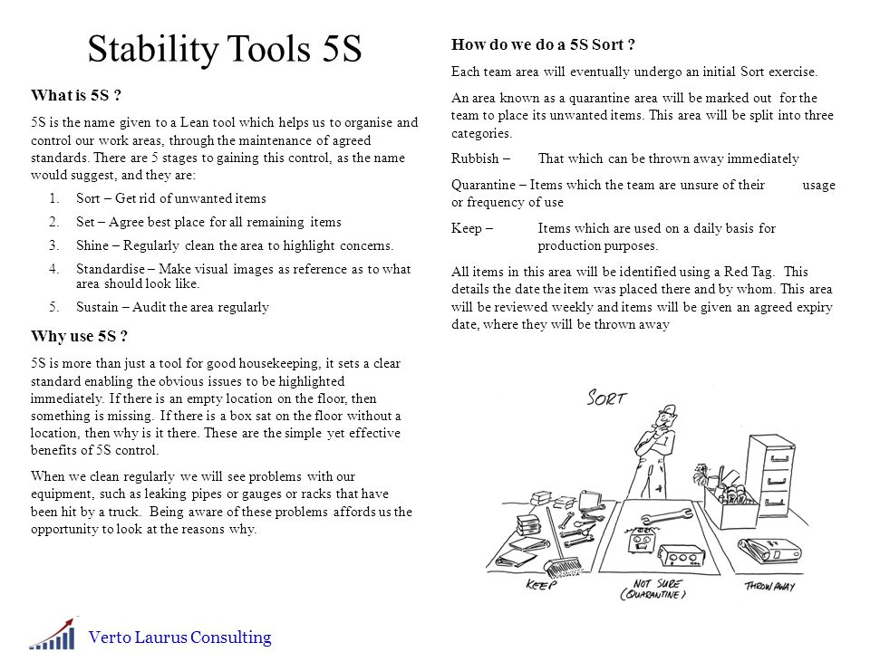 Stability Tools 5S How do we do a 5S Sort What is 5S Why use 5S