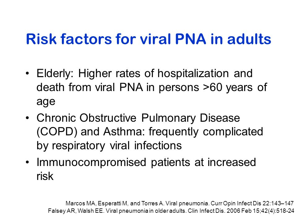 Risk factors for viral PNA in adults