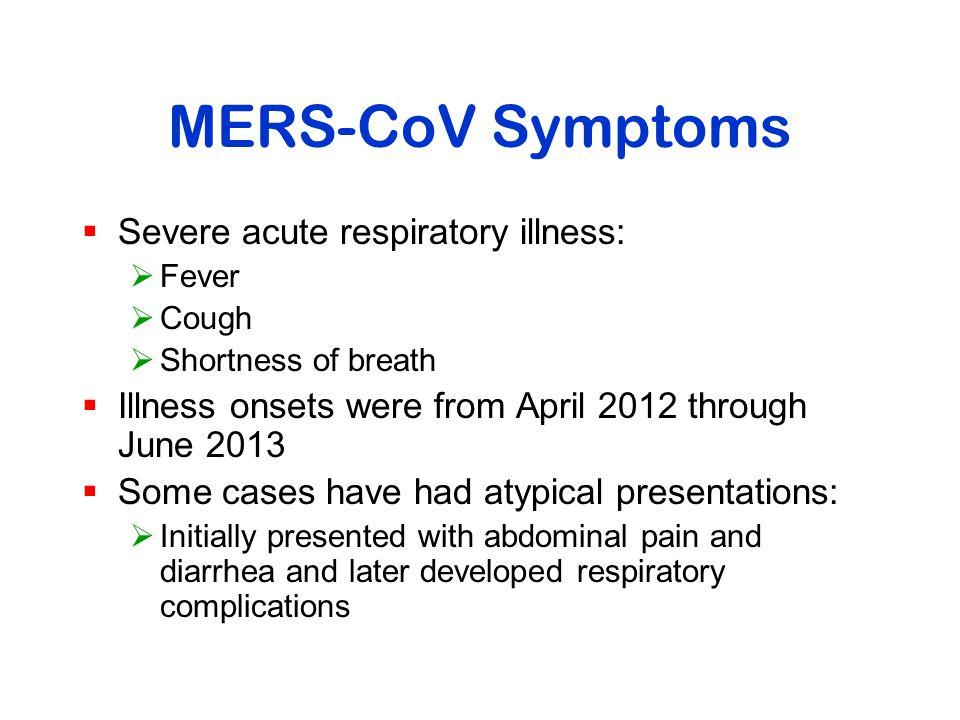 MERS-CoV Symptoms Severe acute respiratory illness: