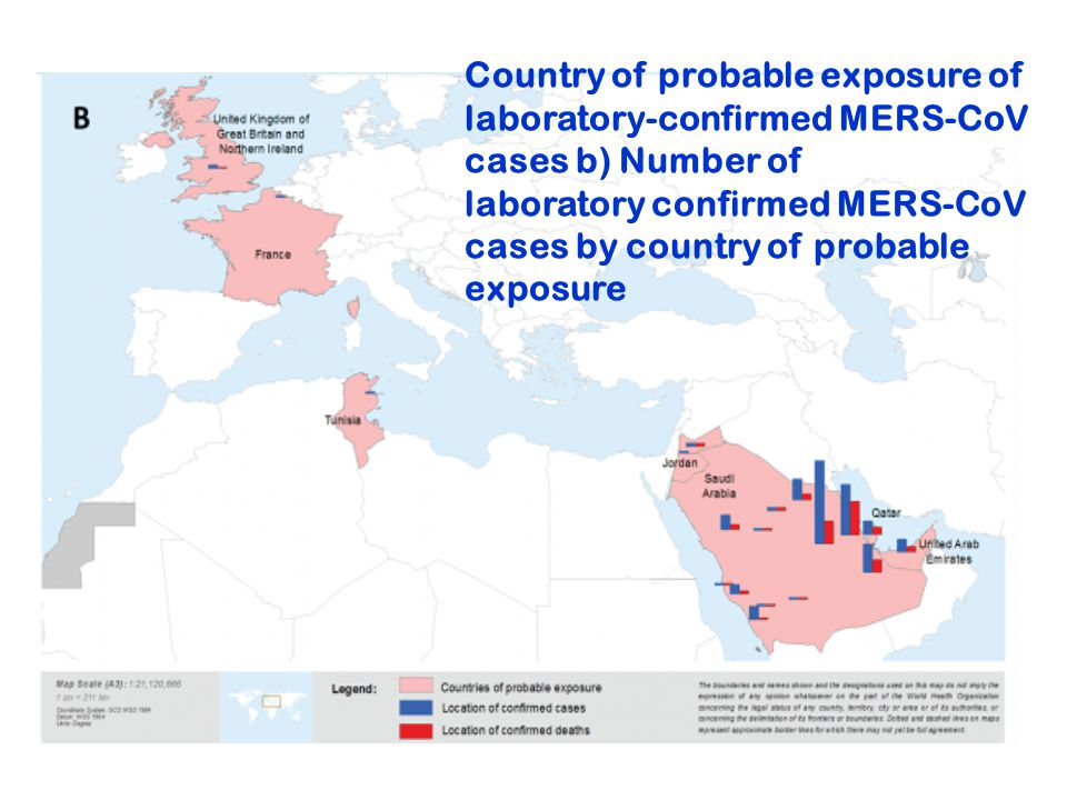 Country of probable exposure of laboratory-confirmed MERS-CoV cases b) Number of