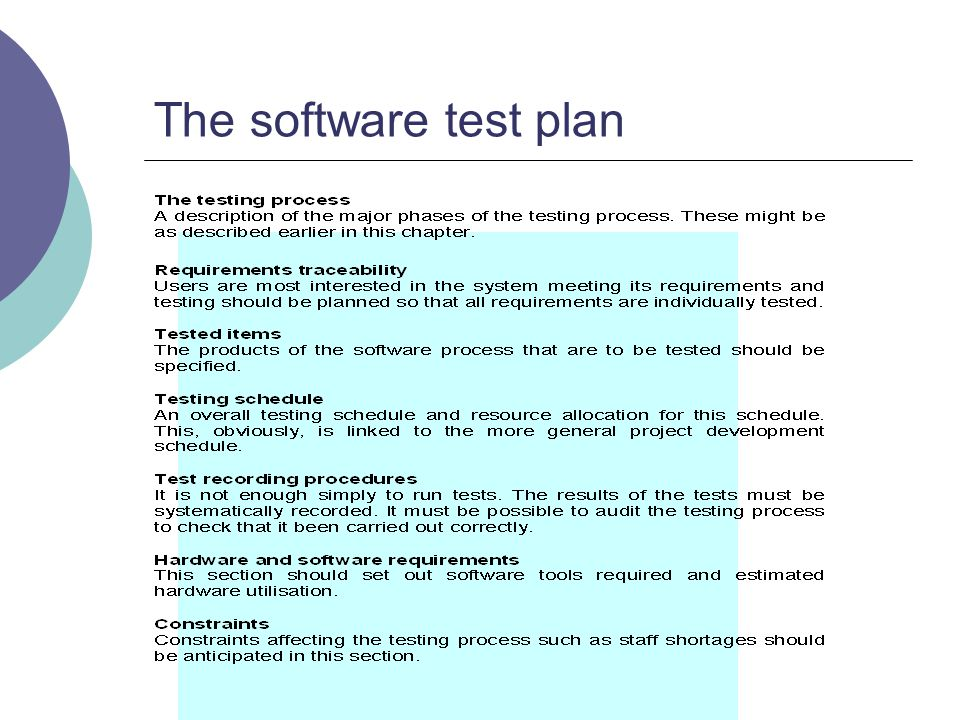 The software test plan