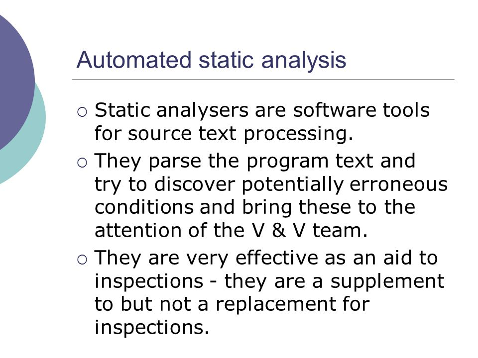 Automated static analysis