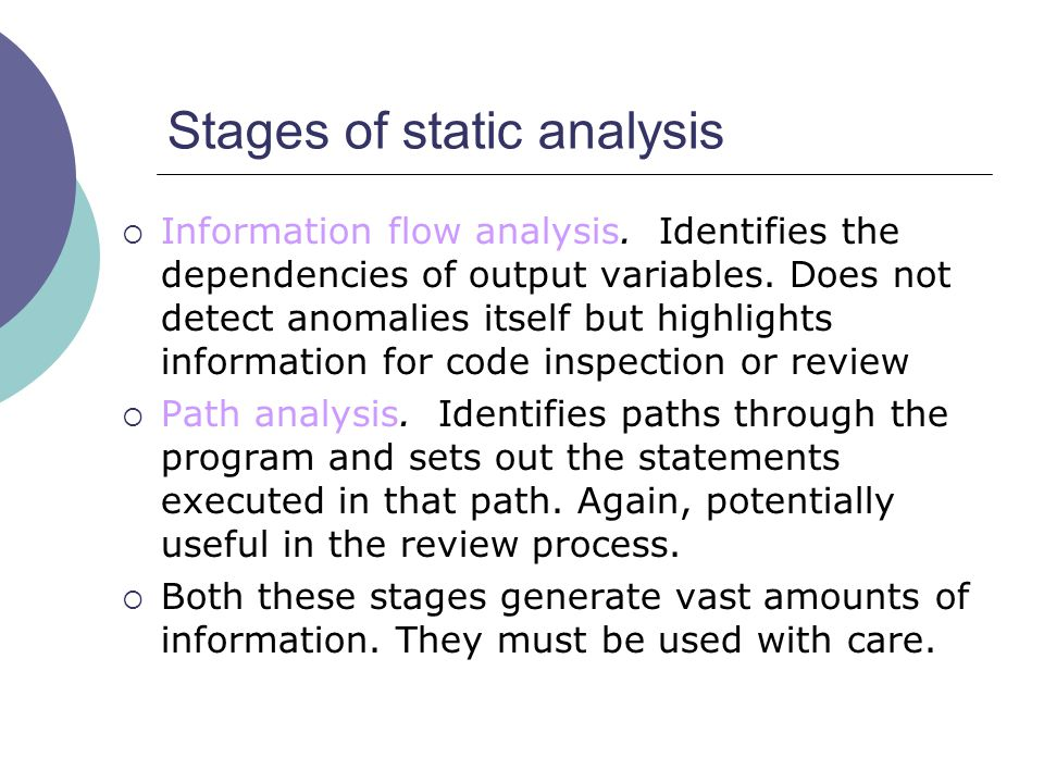 Stages of static analysis