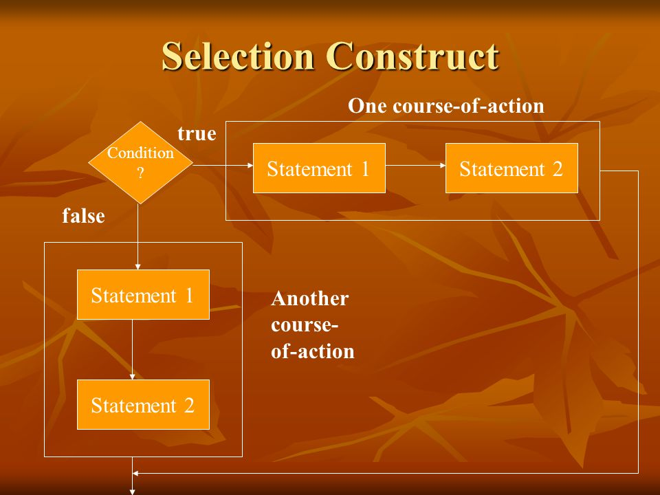 Selection Construct One course-of-action true Statement 1 Statement 2