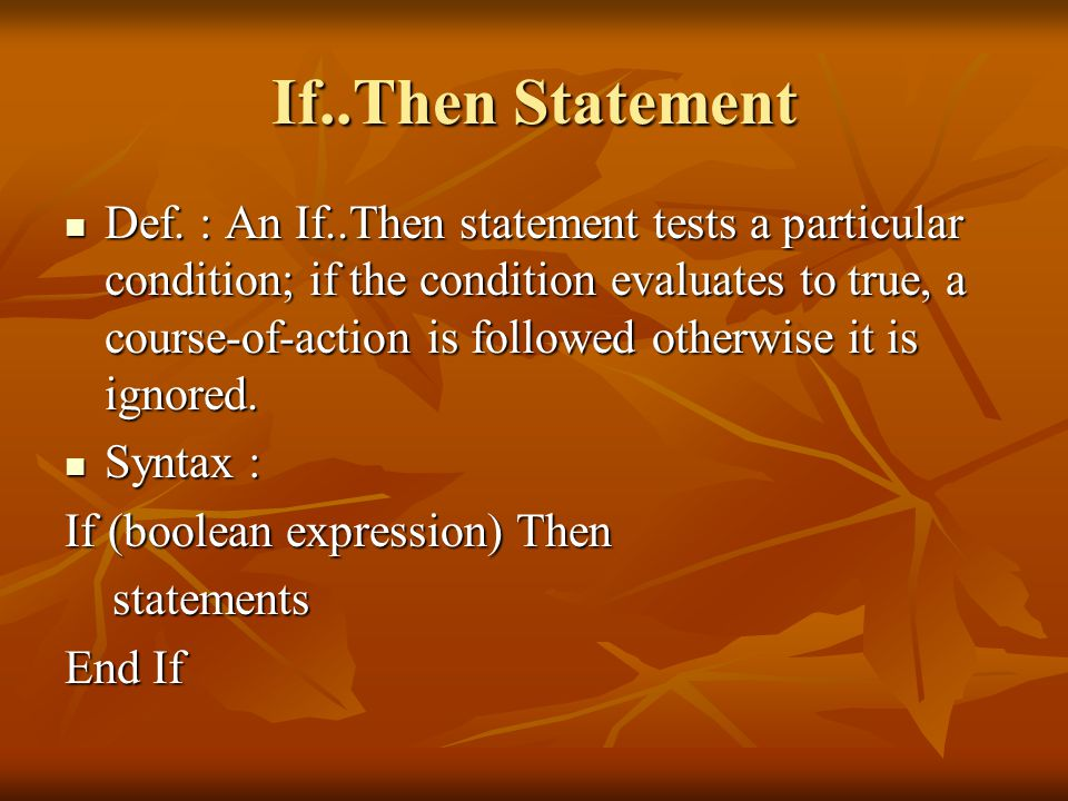 If..Then Statement