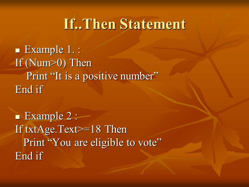 If..Then Statement Example 1. : If (Num>0) Then
