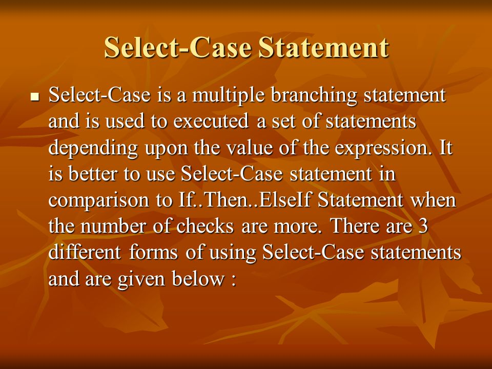 Select-Case Statement