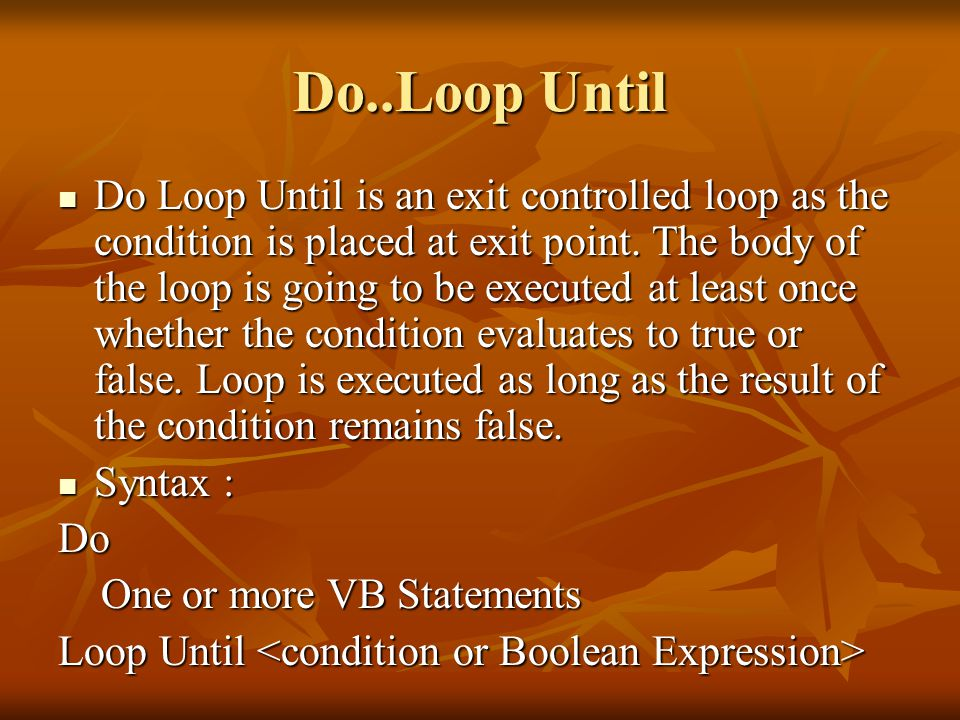 Do..Loop Until