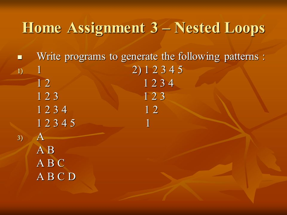 Home Assignment 3 – Nested Loops