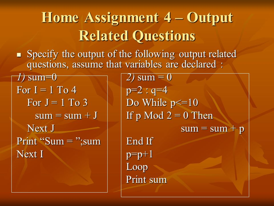 Home Assignment 4 – Output Related Questions