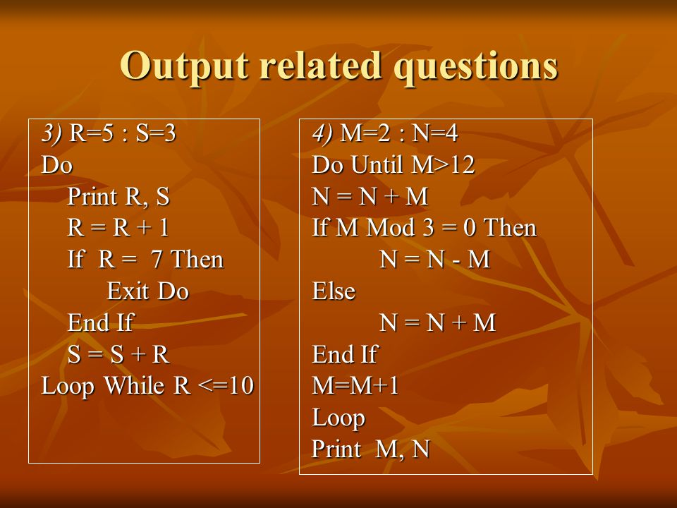 Output related questions