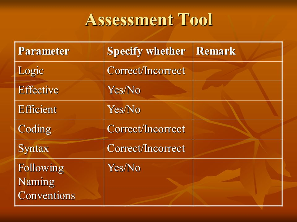 Assessment Tool Parameter Specify whether Remark Logic