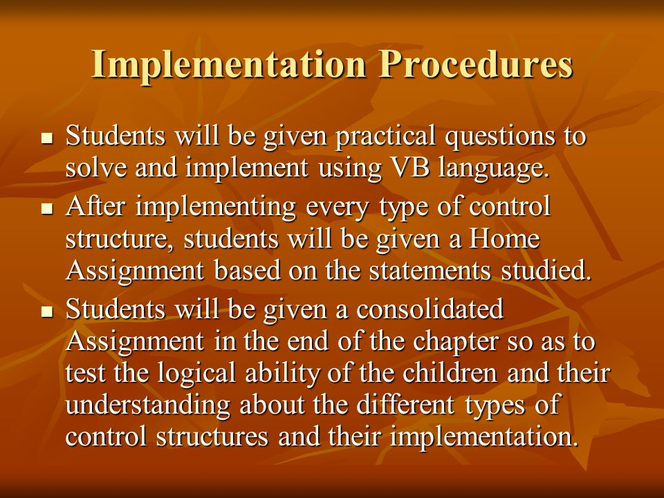 Implementation Procedures