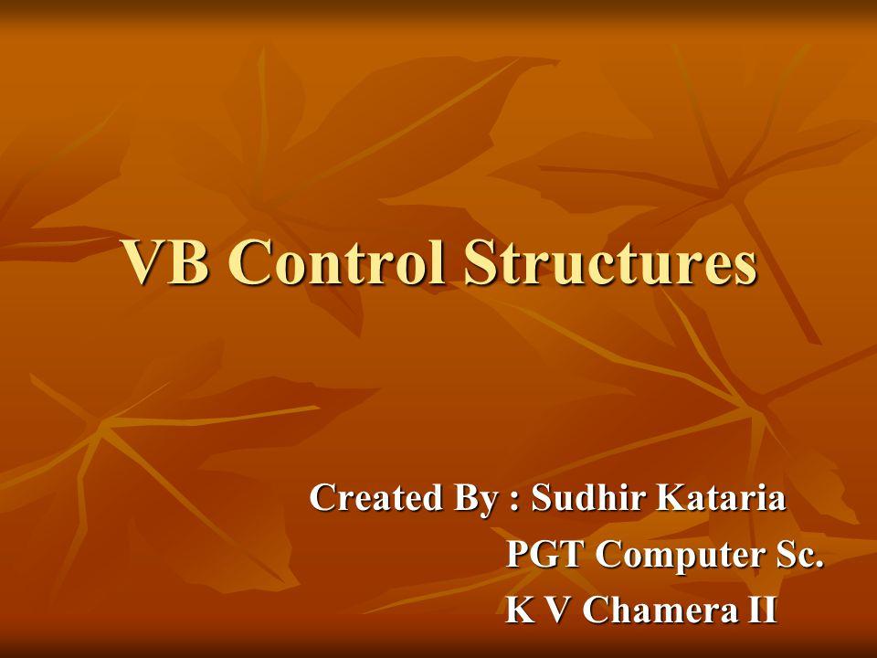 Created By : Sudhir Kataria PGT Computer Sc. K V Chamera II