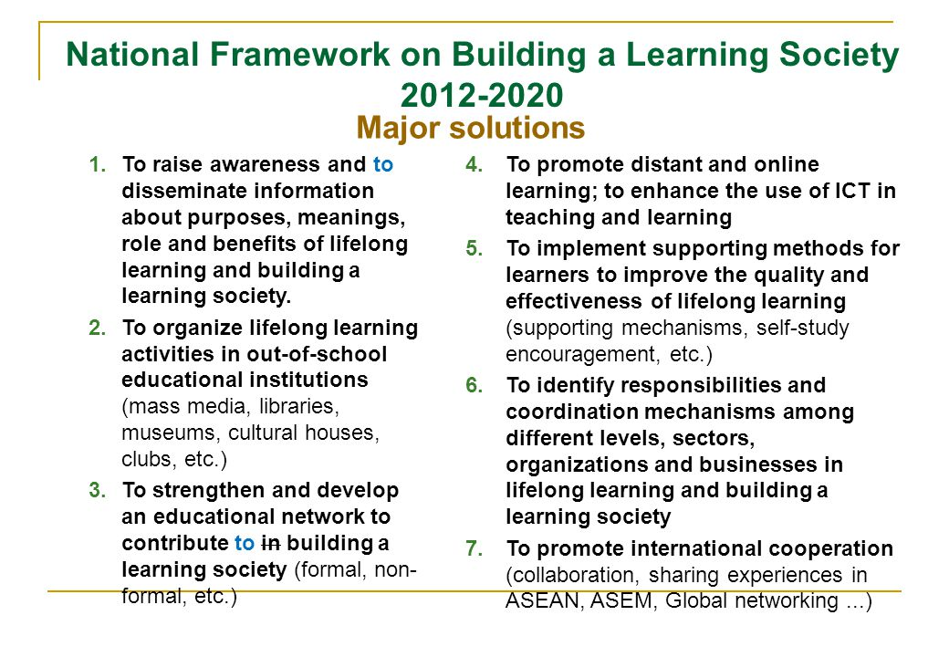 National Framework on Building a Learning Society 2012-2020