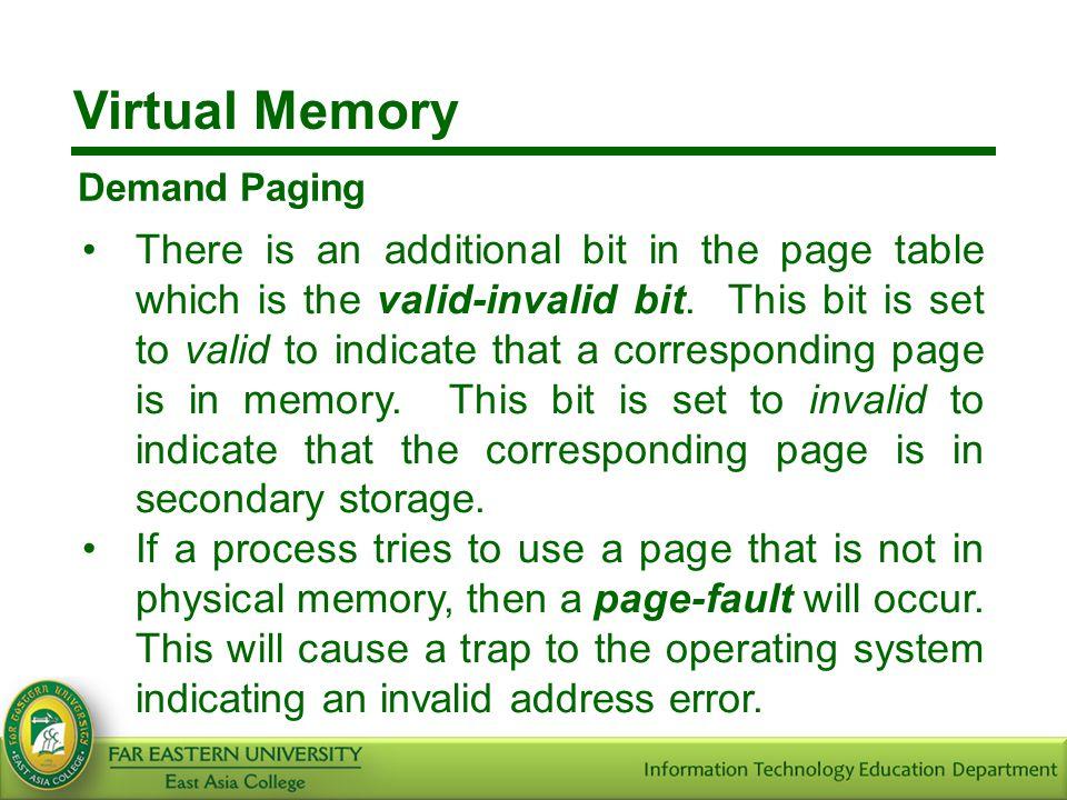 Virtual Memory Demand Paging.
