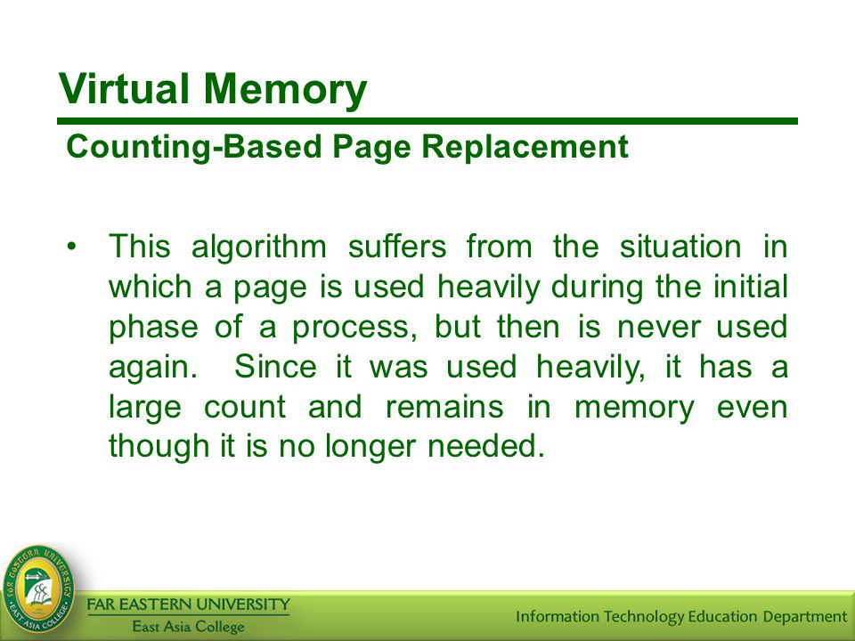 Virtual Memory Counting-Based Page Replacement