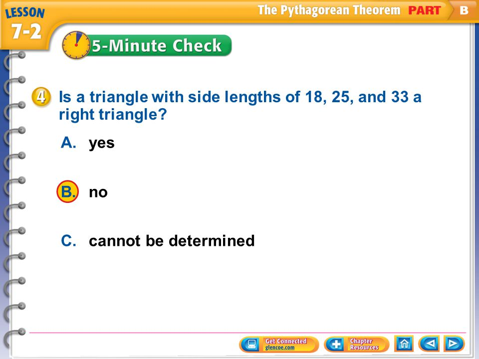 Is a triangle with side lengths of 18, 25, and 33 a right triangle