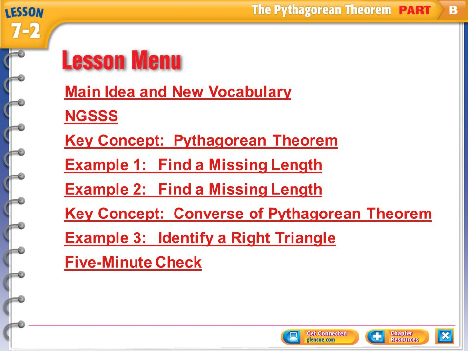 Main Idea and New Vocabulary NGSSS Key Concept: Pythagorean Theorem