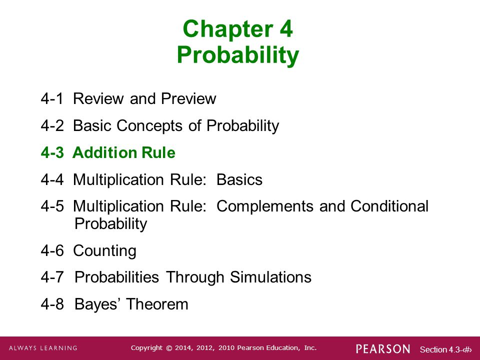 Chapter 4 Probability 4-1 Review and Preview