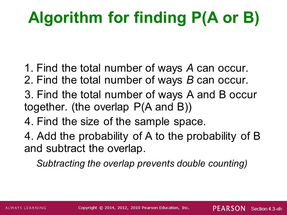 Algorithm for finding P(A or B)