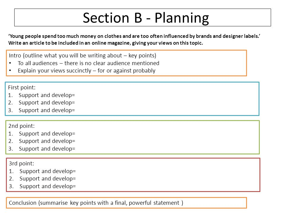 Section B - Planning