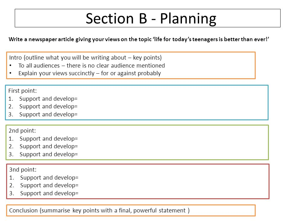 Section B - Planning Write a newspaper article giving your views on the topic 'life for today's teenagers is better than ever!'