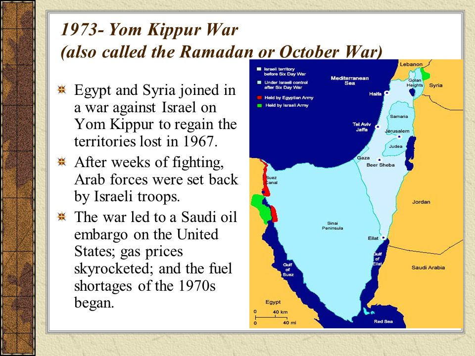 1973- Yom Kippur War (also called the Ramadan or October War)