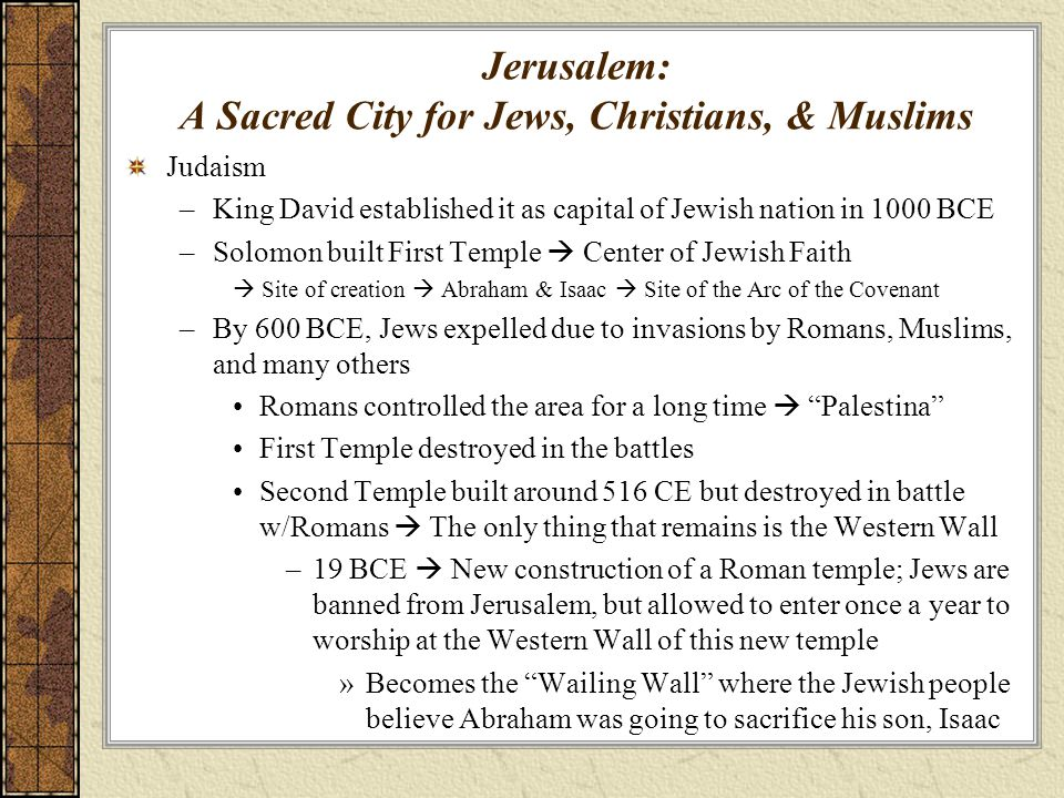 Jerusalem: A Sacred City for Jews, Christians, & Muslims