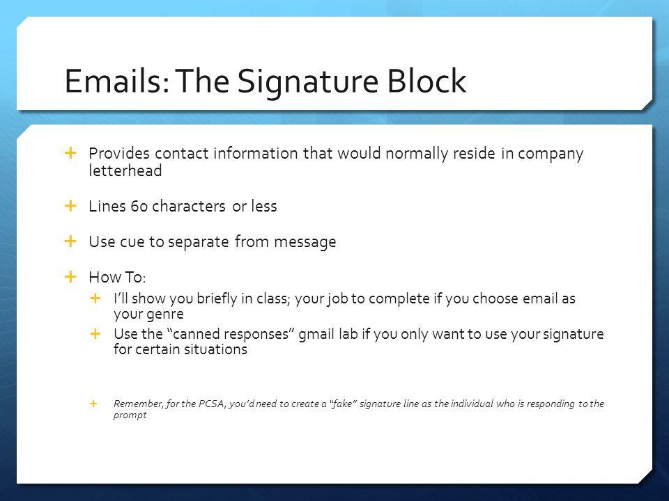 Emails: The Signature Block