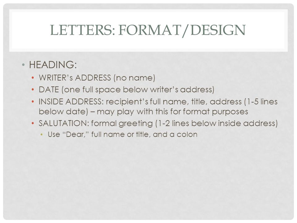 Letters: Format/Design