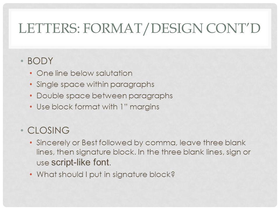 Letters: Format/Design cont'd