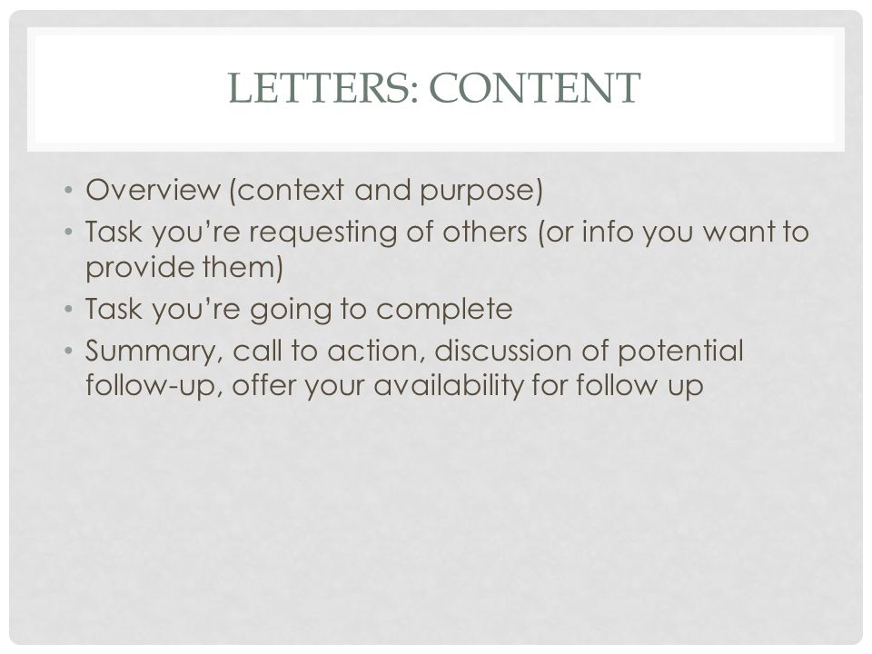 Letters: Content Overview (context and purpose)