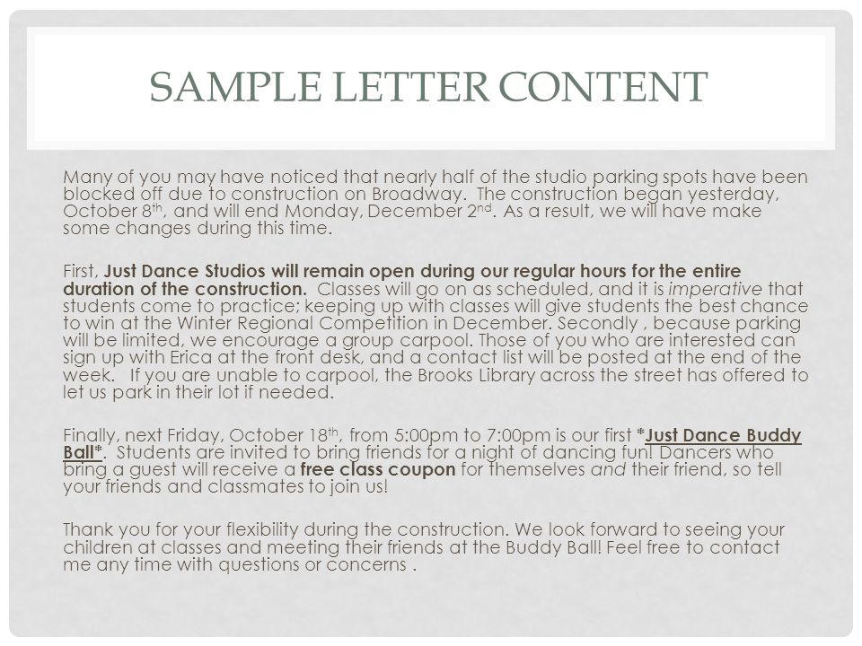 Sample letter content