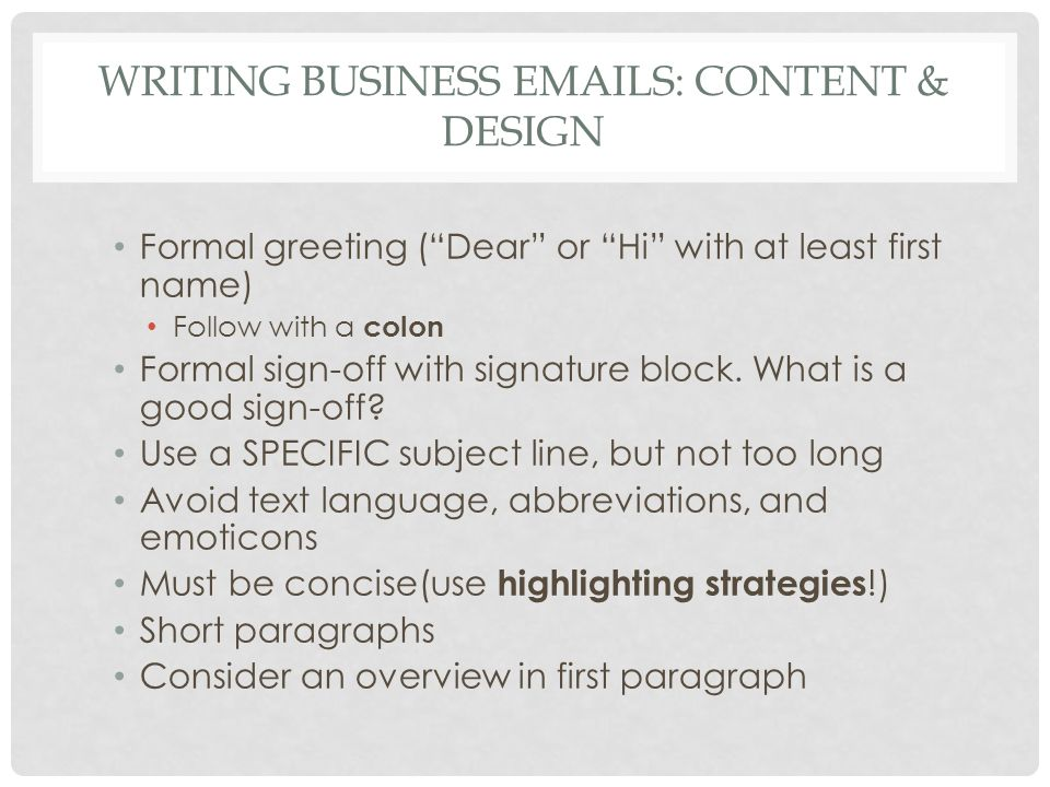 Writing Business Emails: Content & Design